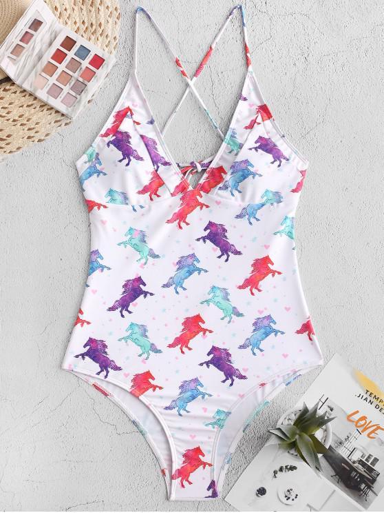shop ZAFUL Horse Print Crisscross One-piece Swimsuit - WHITE M