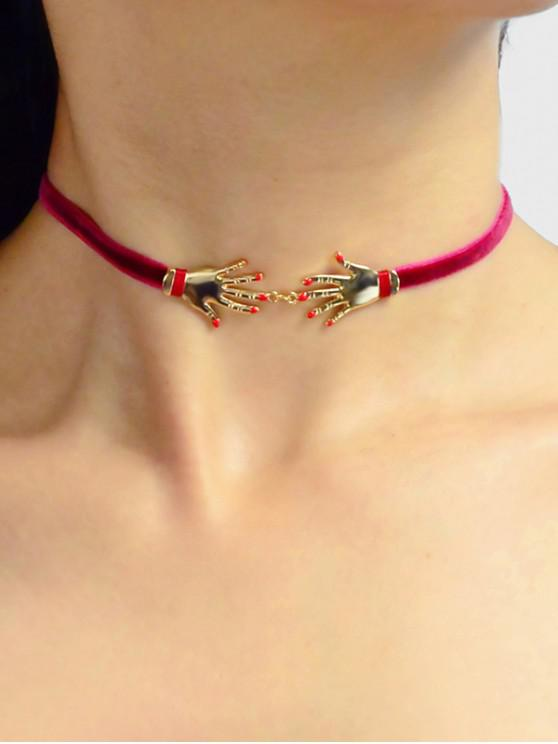 online Hand Decorated Velour Choker Necklace - RED WINE