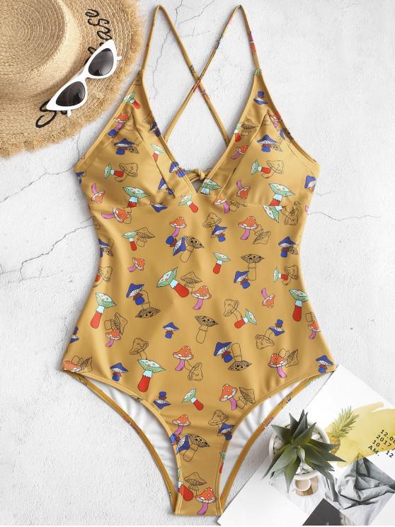 ladies ZAFUL Crisscross Mushroom Print One-piece Swimsuit - GOLDEN BROWN L