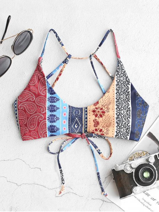 new ZAFUL Bohemian Flower Paisley Strappy Bikini Top - MULTI-A S