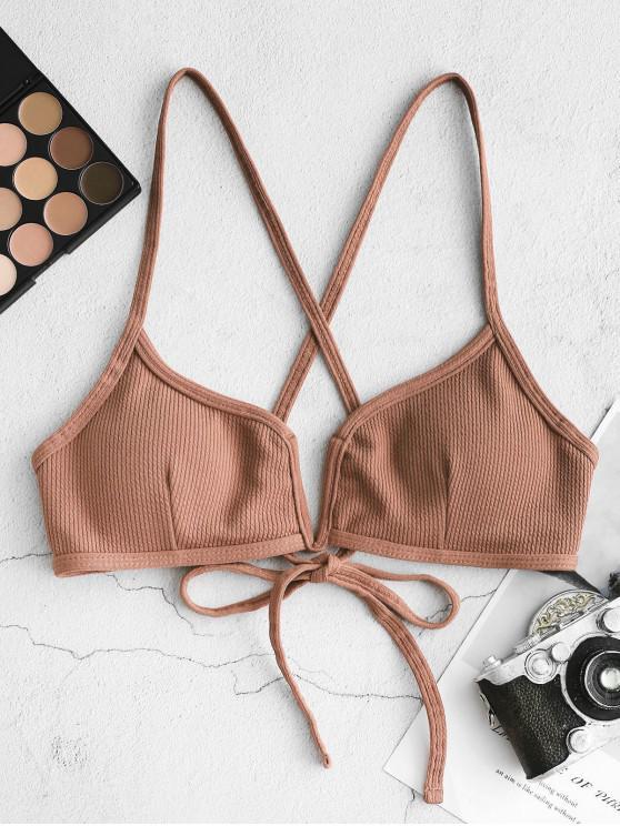 trendy ZAFUL Ribbed V Wired Criss Cross Bikini Top - TIGER ORANGE M