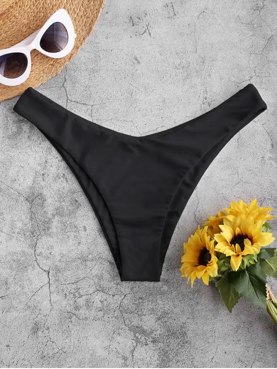 ZAFUL Bikini Bottom de Pierna Alta - Negro M