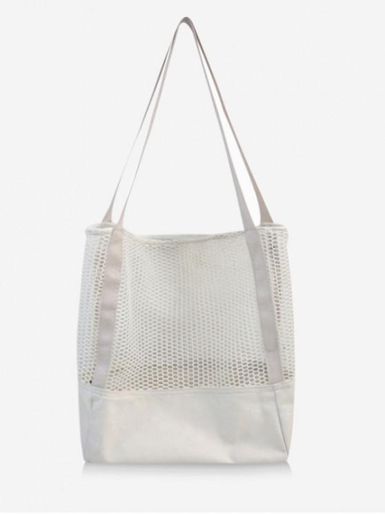 Bolsa de tela individual de malla de lona sólida - Blanco