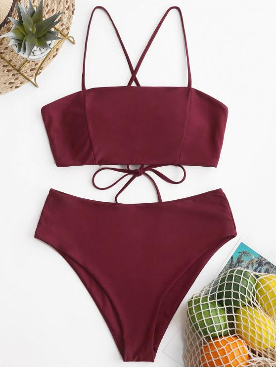 chic ZAFUL Crisscross Lace-up High Waisted Bikini Swimsuit - RED WINE M