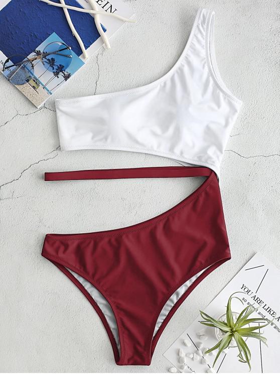 ZAFUL Recorte Swimsuit Um Ombro - Vinho Tinto S