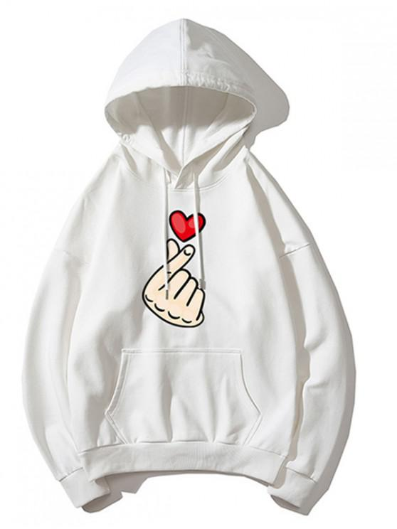 trendy Finger Heart Graphic Print Drop Shoulder Casual Hoodie - WHITE XL