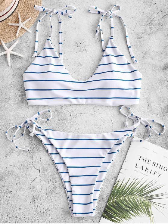hot ZAFUL Tie Striped Bikini Swimsuit - WHITE L