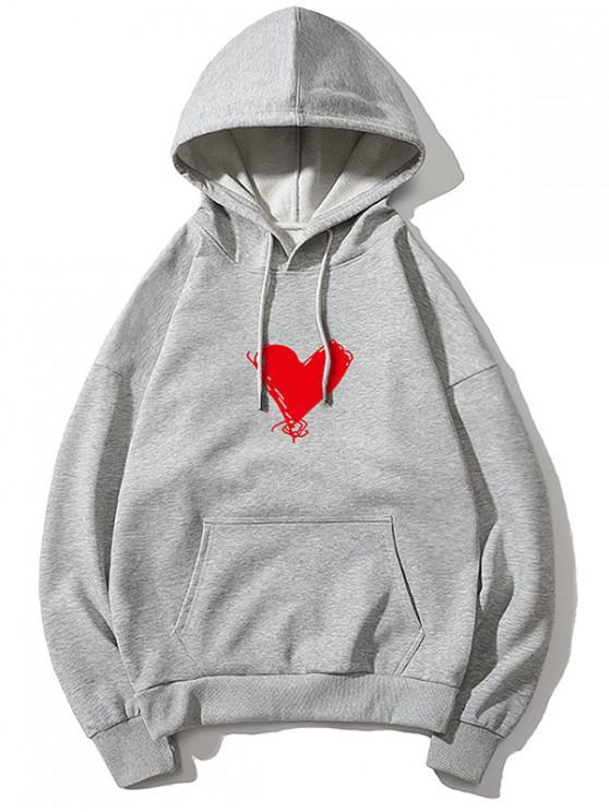 outfits Heart Print Kangaroo Pocket Pullover Hoodie - GRAY S