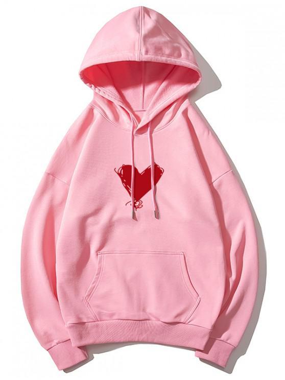 hot Heart Print Kangaroo Pocket Pullover Hoodie - PINK XS