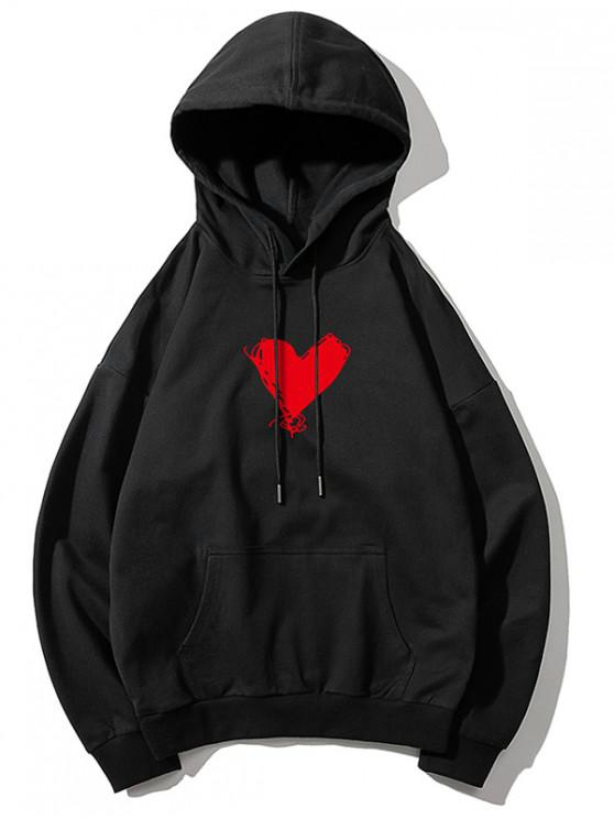 buy Heart Print Kangaroo Pocket Pullover Hoodie - BLACK L