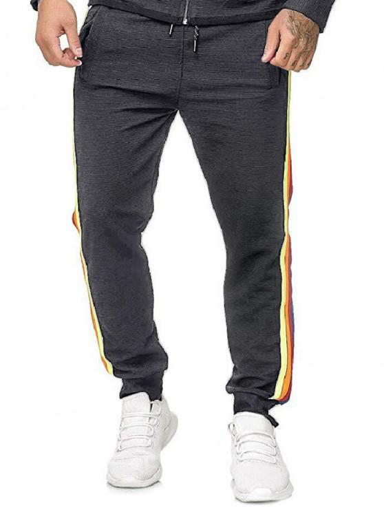 new Side Colorful Striped Drawstring Jogger Pants - DARK GRAY 2XL