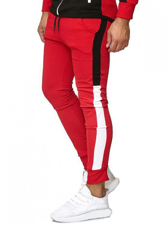 unique Color Block Leisure Jogger Pants - RED 2XL