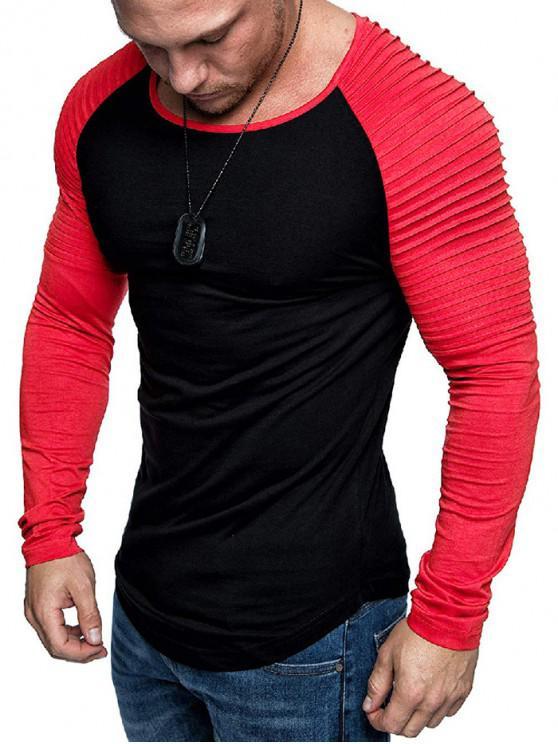 outfits Pleated Shoulder Raglan Sleeve Long Sleeve Tee - MULTI-A 2XL