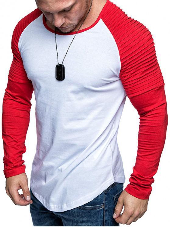 online Pleated Shoulder Raglan Sleeve Long Sleeve Tee - MULTI-B 2XL