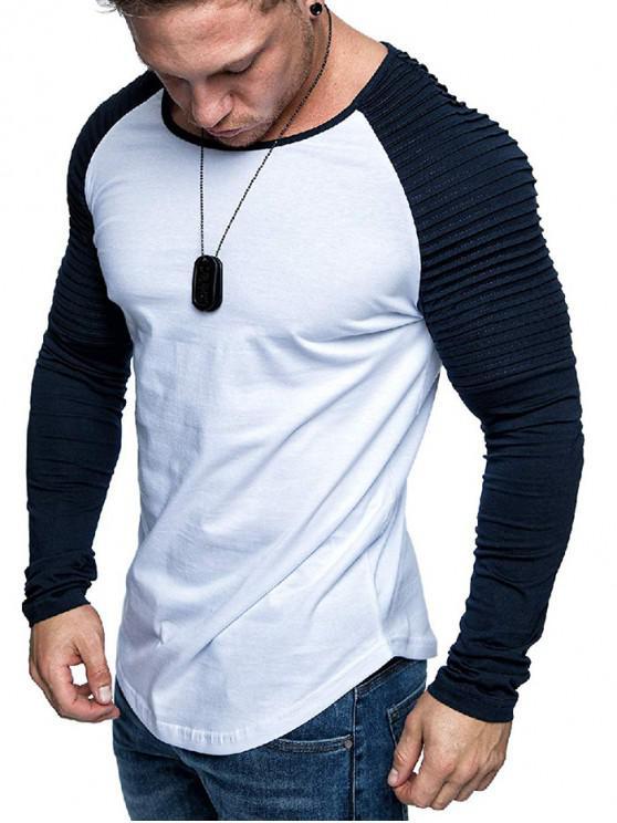 fancy Pleated Shoulder Raglan Sleeve Long Sleeve Tee - MULTI-G 2XL