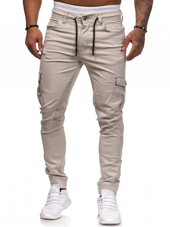affordable Pleated Trim Drawstring Cargo Jogger Pants - BLANCHED ALMOND 3XL
