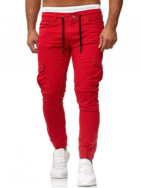sale Pleated Trim Drawstring Cargo Jogger Pants - RED 3XL