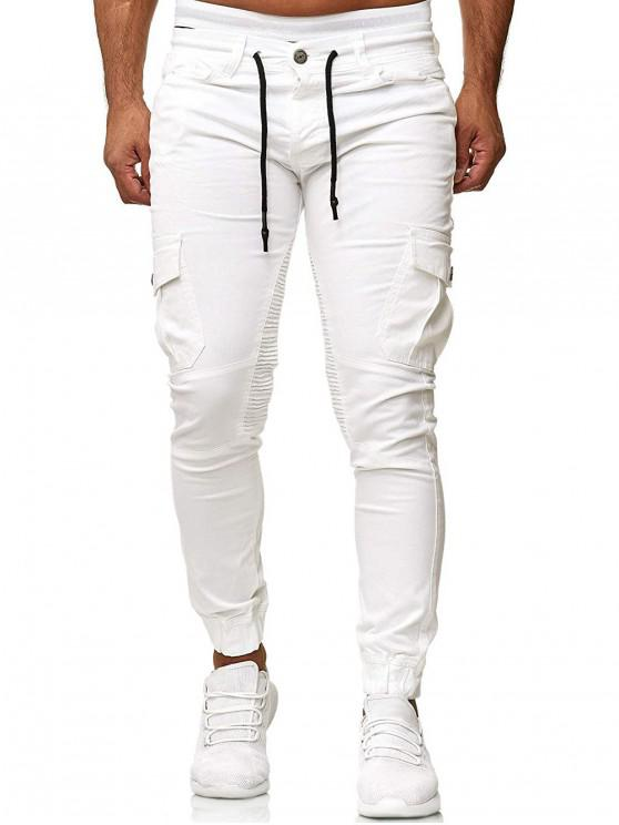 hot Pleated Trim Drawstring Cargo Jogger Pants - WHITE 3XL