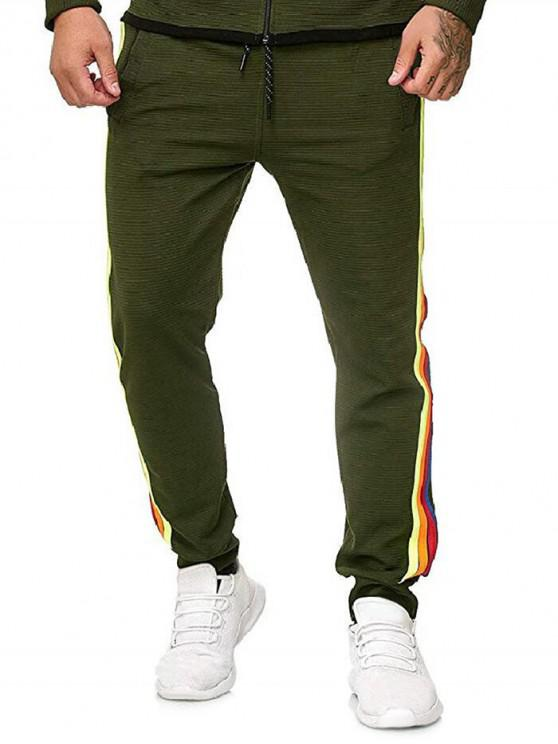 sale Side Colorful Striped Drawstring Jogger Pants - ARMY GREEN 2XL