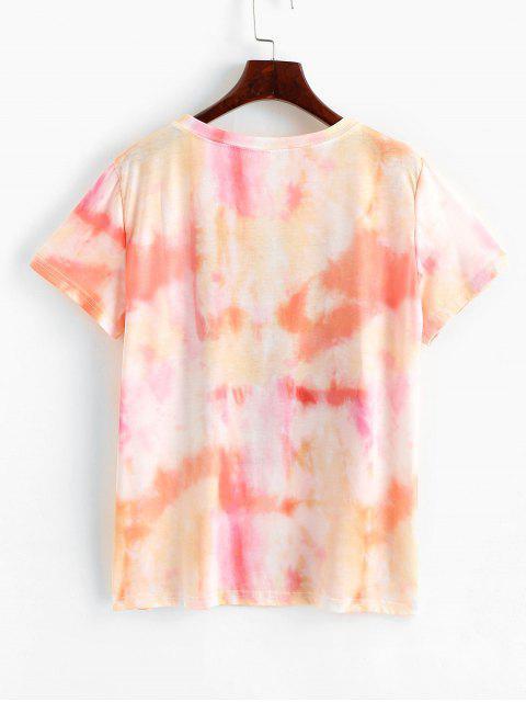 Grafisches Bindungs-Färbungs- Blumen-T-Shirt - Orange M Mobile