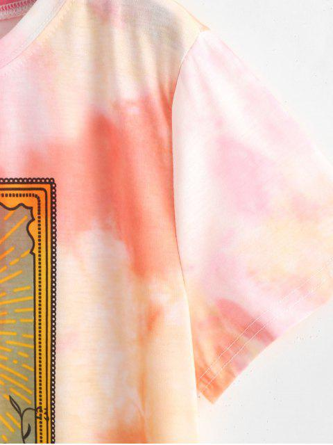 outfits Sun Floral Graphic Tie Dye Tee - ORANGE L Mobile