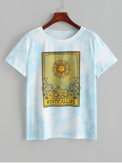 Grafisches Bindungs-Färbungs- Blumen-T-Shirt - Blau S Mobile
