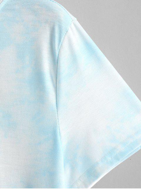 women Sun Floral Graphic Tie Dye Tee - BLUE L Mobile