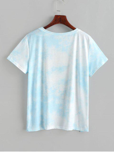 日花プリント柄グラフィック絞り染めTシャツ - 青 M Mobile