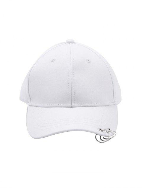 fancy Hoop Embellished Solid Baseball Cap - WHITE  Mobile
