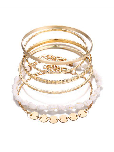online 5 Piece Simple Shell Disc Chain Bracelet Set - GOLD  Mobile