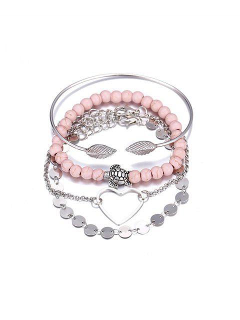 outfit 4 Piece Heart Disc Beaded Chain Bracelet Set - SILVER  Mobile