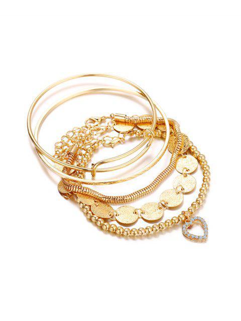 shops 5 Piece Heart Disc Chain Beaded Bracelet Set - GOLD  Mobile