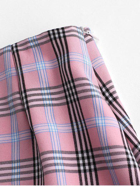 Falda A Cuadros Mini A Line Slits - Multicolor L Mobile
