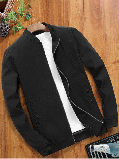 shop Zipper Color Block Splicing Casual Basic Jacket - BLACK M Mobile