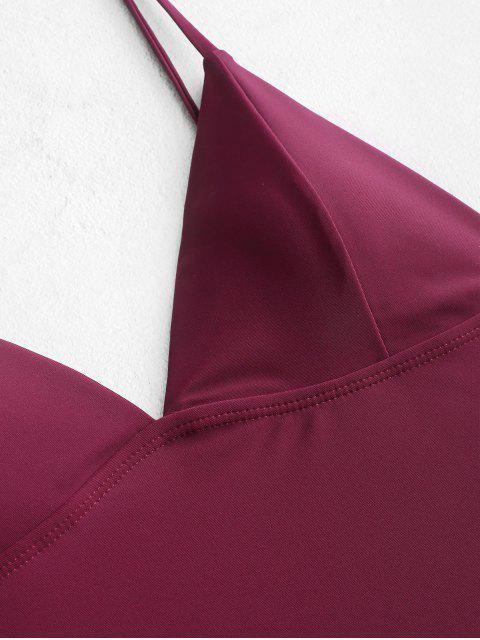shops ZAFUL High Cut Backless Cami One-piece Swimsuit - PLUM PIE L Mobile