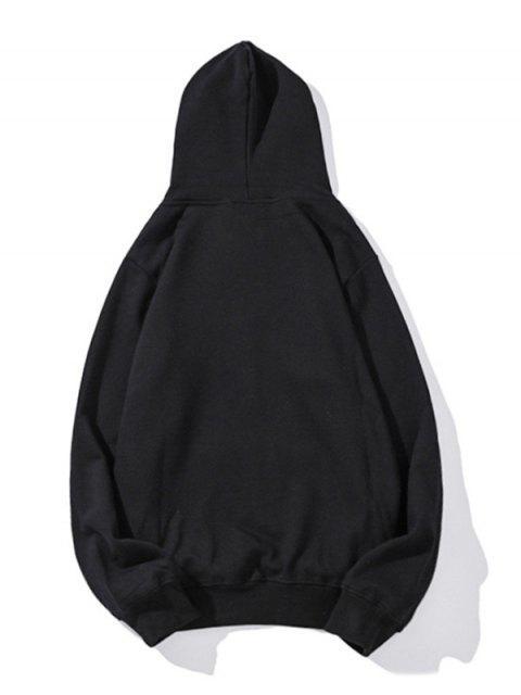 Drop Shoulder袋鼠口袋平紋連帽衫 - 黑色 M Mobile