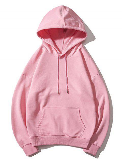Drop Shoulder袋鼠口袋平紋連帽衫 - 粉 M Mobile