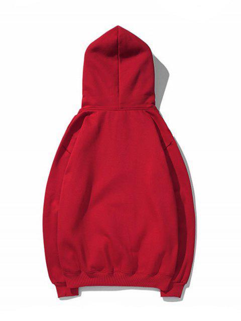 Drop Shoulder袋鼠口袋平紋連帽衫 - 紅酒 XL Mobile