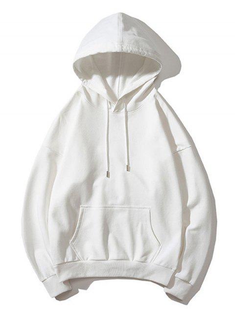 Drop Shoulder袋鼠口袋平紋連帽衫 - 白色 L Mobile