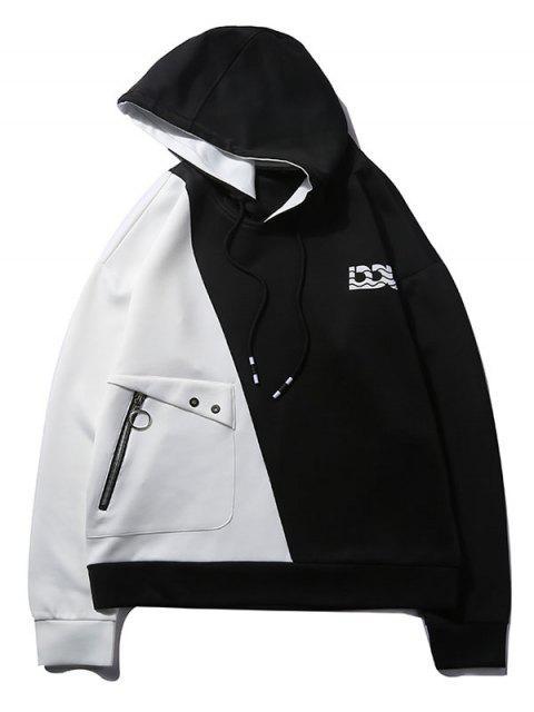 雙色色塊連帽衫 - 白色 M Mobile