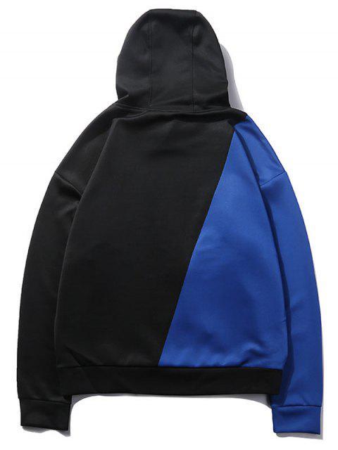 雙色色塊連帽衫 - 藍莓藍 M Mobile
