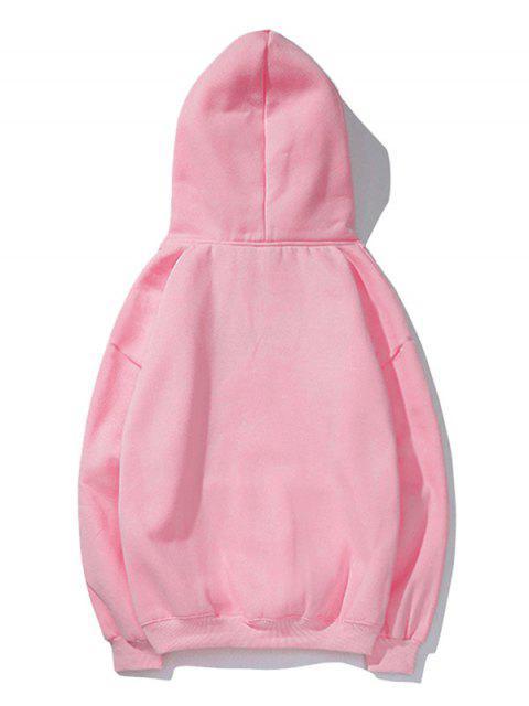卡通口袋貓打印抽繩袋鼠口袋連帽衫 - 粉 XS Mobile