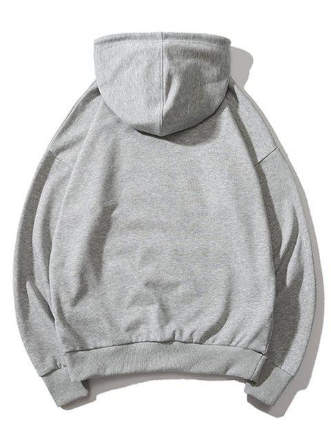 卡通口袋貓打印抽繩袋鼠口袋連帽衫 - 灰色 M Mobile