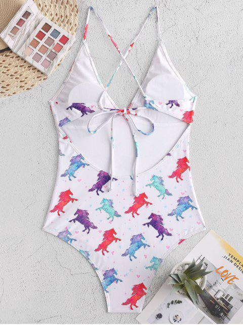 fancy ZAFUL Horse Print Crisscross One-piece Swimsuit - WHITE S Mobile