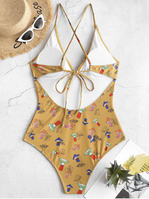 affordable ZAFUL Crisscross Mushroom Print One-piece Swimsuit - GOLDEN BROWN M Mobile