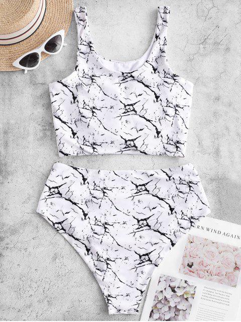 ZAFUL結褶皺大理石印花Tankini泳衣 - 白色 XL Mobile