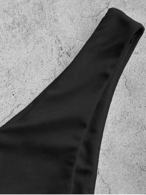 shop ZAFUL High Leg Plain Bikini Bottom - BLACK L Mobile