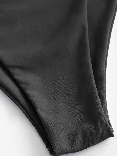 ZAFUL Bottom Bikini de Pierna Alta de Cintuta Alta - Negro S Mobile