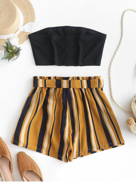 unique ZAFUL Buttoned Bandeau Top And Stripes Paperbag Shorts Set - BLACK XL Mobile