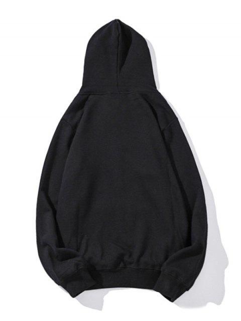 指心臟圖形打印液滴肩休閒帽衫 - 黑色 S Mobile